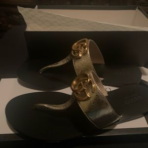 GUCCI 'Marmont' Gold Glitter Womens Shoes Sz 42